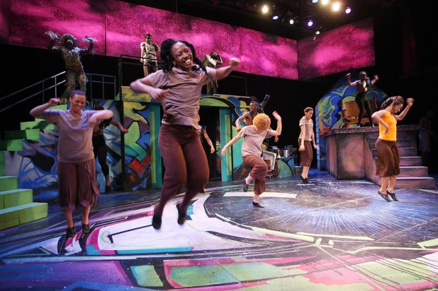 Actors jumping with joy (The Wiz, Back Rep)