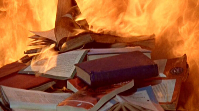 Stack Of Books Being Set On Fire, Still From The Film Fahrenheit 451