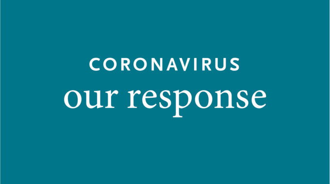 Coronavirus Our Response On Blue Background
