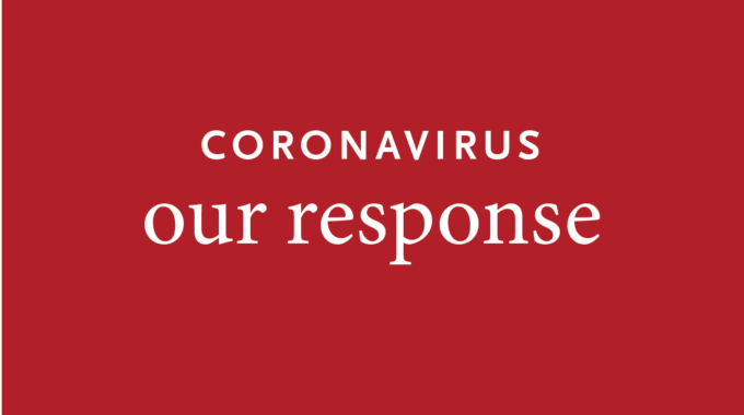 Coronavirus Our Response On Red Background